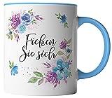 vanVerden Tazza con motivo floreale acquerello, stampa su entrambi i lati, idea regalo per caffè, colore: bianco/blu