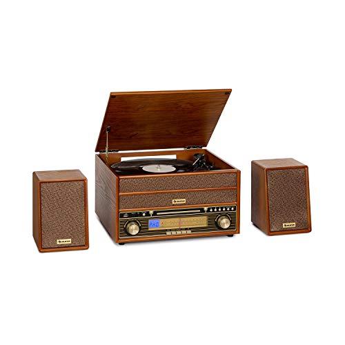auna Belle Epoque 1910 Retro-Stereoanlage mit Plattenspieler - Bluetooth, CD-Player, UKW-Tuner, USB, Aufnahmefunktion, inkl. 2 x 5 W RMS Lautsprecher, braun
