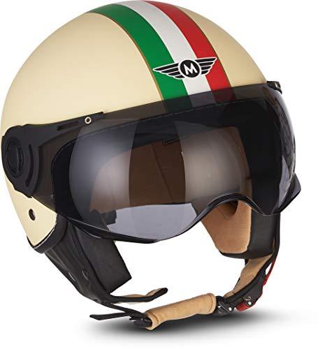 "MOTOHelmets® H44 ""Venice Creme"" · Jet-Helm · Motorrad-Helm Roller-Helm Scooter-Helm Bobber Mofa-Helm Chopper Retro Cruiser Vintage Pilot Biker Helmet · ECE Visier Schnellverschluss Tasche S (55-56cm)"
