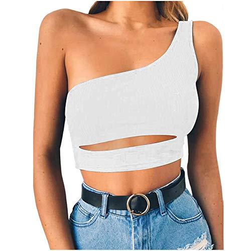 Yowablo Tank Weste Frauen One Shoulder ärmellose Crop Top BH Slim Camis ( XXL,Weiß )