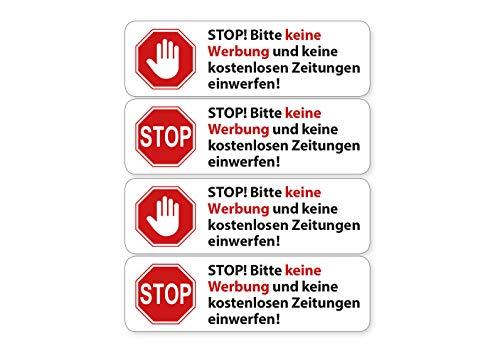 Stickerset 4X brievenbus sticker alstublieft geen reclame wit weerbestendig en UV-bestendig