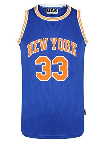 Herren American American American Style Basketball Trikots Miami NY Chicago LA Brookly Unterhemd ärmellos Gr. S, New York Blue 33