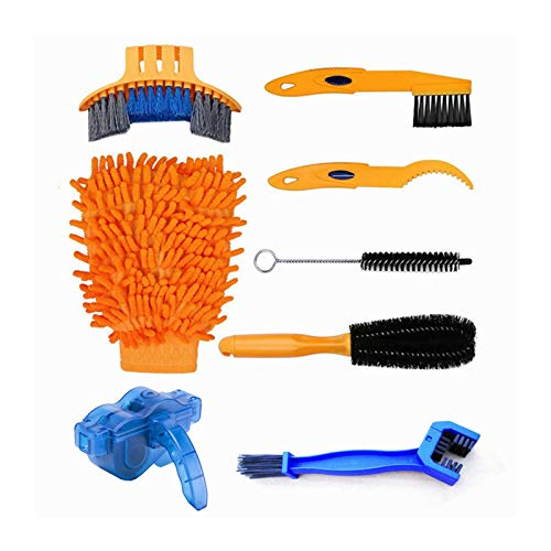 Bluetooth earphone Bike/Bicycle Cleaning Tool Kit, 8pcs Chain Cleaning Tools with Gear Chain Brush/Scrubber, for All Types of Bicycle/Cycling Mountain Folding Bike Chains 2021 New