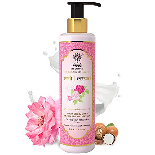 Khadi Essentials Indian Rose Hand and Body Lotion with Milk, Shea Butter, SLS Paraben-Free Body Moisturizer for Dry skin For Skin Brightening, Nourishment- 200ml