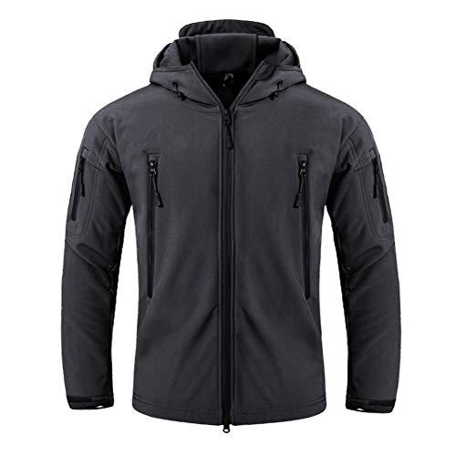 FEDTOSING Herren Übergangsjacke Wasserdicht Funktionsjacke Softshell Outdoor Mantel Winddicht Kapuze(Black EU XL)