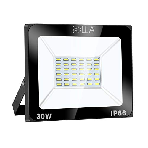 SOLLA Projecteur LED 30W, IP66 Imperméable, 2400LM, Eclairage Extérieur LED, Equivalent à Ampoule Halogène 170W, 6000K Lumière Blanche du Jour, Eclairage de Sécurité