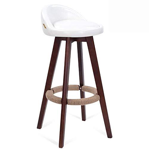 JIEER-C leerstoel barkruk massief hout barkruk barmeubel 360 ° draaibaar ontbijtstoel PU kussen eenvoud draaggewicht 150kg zithoogte 70cm (kleur: wit) wit