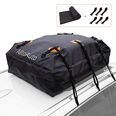 AlltoAuto Car Rooftop Cargo Carrier Bag, 100% Waterproof-15 Cubic Feet, Protective Mat, Storage Bag, Straps&Hooks Include, Soft Shell Carrier Bag for All Cars and Truck with or Without Racks