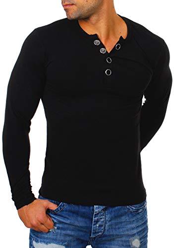Young & Rich Herren Longsleeve Langarm T-Shirt Knopfleiste mit extra großen Metall Knöpfen Slimfit Big Buttons 2872, Grösse:XL, Farbe:Schwarz