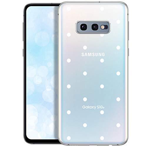 Fundas para iPhone QULT Compatible con Samsung Galaxy S10e – Funda de Silicona Transparente con Lindos Motivos – Fundas iPhone Ultra Finas Puntos Blancos