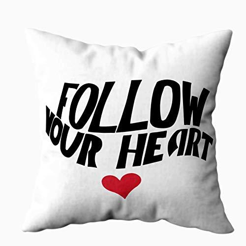 Fodere per cuscini Cuscino per la casa Morbido divano per la casa Federe per cuscini decorativi Douecilsh Segui il tuo cuore Sfondo Inchiostro Frase calligrafica moderna Scritta a mano Doppia stampata