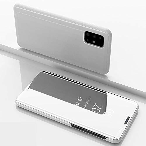 Nadoli Galaxy A31 Spiegel Hülle,Clear View Mirror Effect Pu Leder Hart PC Zurück Buchstil Standfunktion Flip Schutzhülle Brieftasche für Samsung Galaxy A31,Silber