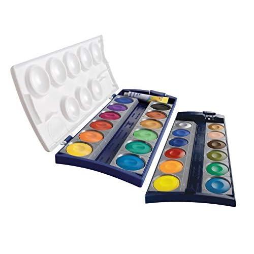 Pelikan 720631 Acquarelli Premium K24, Astuccio 24 Colori e 1 Tubetto di Bianco Coprente (7,5 ml), Qualità Prodotto in Germany, Set Scuola, Materiale Didattico