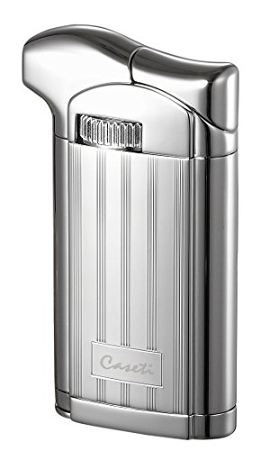 Visol Products Caseti Felix Chrome Lines II Soft Flame Pipe Lighter with Tamper