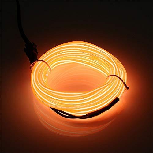 JIGUOOR 10M EL Draht EL Kabel Neon Licht Beleuchtung Wiederaufladbar für Party Halloween Kostüm Weihnachten Dekoration mit 3 Modis (Orange)