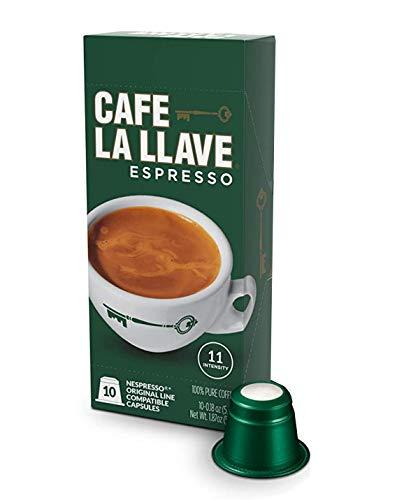 Cafe La Llave Espresso Capsules, Intensity 11 (10 Pods) Compatible with Nespresso OriginalLine Machines