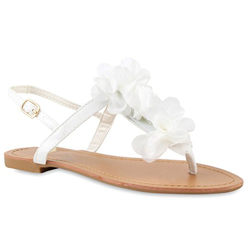 Damen Dianetten Blumen Sandalen Zehentrenner Sommer Flats Beach Zierperlen Schuhe 114995 Weiss 41 Flandell