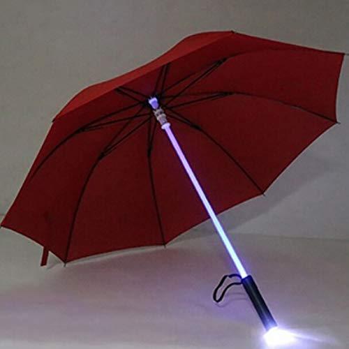WYJ Regenschirm Regenschirm Laserschwert Lichtwechsel Am Schaft/Eingebauter Taschenlampenschirm