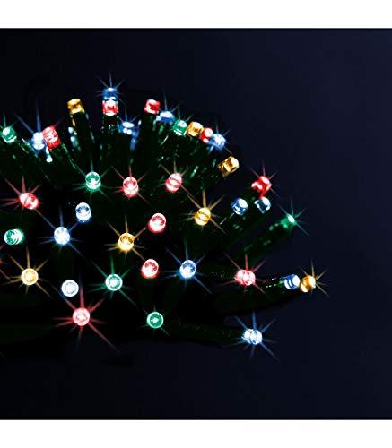 Déco Noël - Guirlande lumineuse solaire 100 LED, 10 m de lumière - Extérieur et Intérieur - Coloris MULTICOLORE