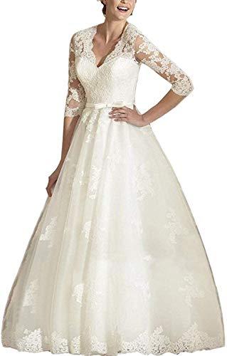 Brautkleider Spitzen A-Linie Hochzeitskleid Lang Brautmode Langarm Standesamt Vintage Brautkleid Elfenbein 58