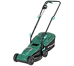 Cordless electric rotary motor, Steel blade, 33cm blade width. 5 cutting heights, cutting heights ranging from 2.5cm-6.5cm. Height adjustable handle. 1 hour recharge time, charger included. Weight 10.81kg.