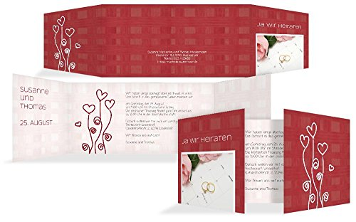 Hochzeitskarten: Hochzeitseinladung Liebestraum, hochwertige Einladung zur Heirat inklusive Umschläge | 15 Karten (format: 215.00x105.00mm) color: Rot
