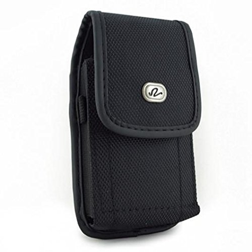 Black Rugged Canvas Phone Case Cover Pouch Belt Clip for MetroPCS LG Aristo - MetroPCS LG K7 - MetroPCS LG Q7 Plus