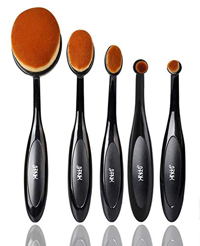 JPNK Oval Toothbrush Style Synthetic Powder Foundation Cream Makeup Brush (5 Pieces)