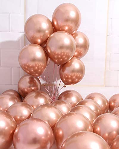 AULE Party Balloons 50 Pcs 12 inch Rose Gold Metallic Chrome Helium Shiny Latex Thicken Balloon product image