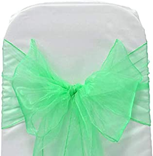 mds Pack of 100 Organza Chair sash Bow Sashes for Wedding and Events Supplies Party Decoration Chair Cover sash -Mint