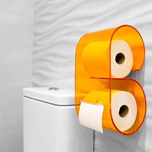 Portarrollos de papel higiénico de metacrilato de original diseño y fácil instalación. Accesorio decoración baño soporte de rollo para pared del cuarto de baño. Dispensador de papel para WC. (Naranja)