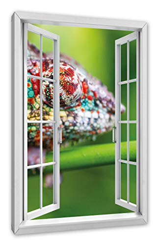 Pixxprint kleurrijke pantserkameleon, raam canvasfoto | muurschildering | kunstdruk hedendaags 60x40 cm