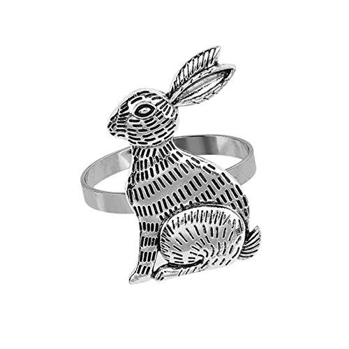 SHEDE Rings Rabbit Napkin Holders Table Decor Easter Bunny NapkinRabbit Napkin Ring Holder Mental Decorationone Easter New Year Thanksgiving Banquet Dinner Spring Table Decoration presents