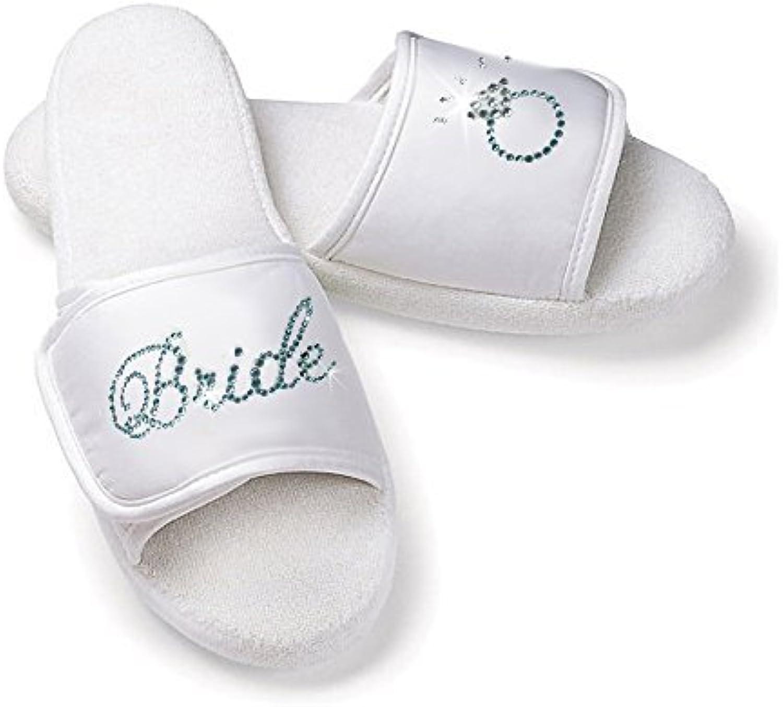 Classy Bride Bridal Slippers with Rhinestone Bride and Diamond Ring White