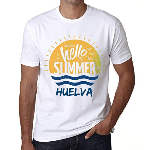 Hombre Camiseta Vintage T-Shirt Gráfico Time To Say Hello To Summer In HUELVA Blanco