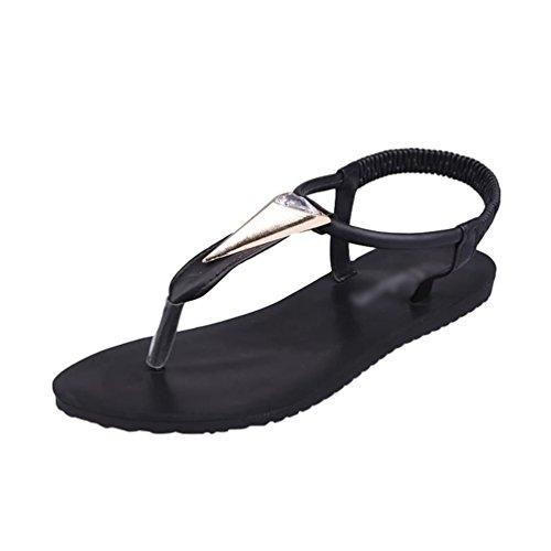 Sentaoa Damen Sandalen Flach Sommerschuhe PU Leder Bohemia Flach Sandalen Zehentrenner Strand Schuhe (Schwarz # 2, Asia39)