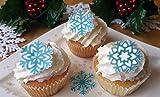 24x Luxus-Cupcake-Deko in Schneeflocken-Design, Essbares Waffel-/Reispapier, für Geburtstag Weihnachten Party Hochzeit; Dekoration
