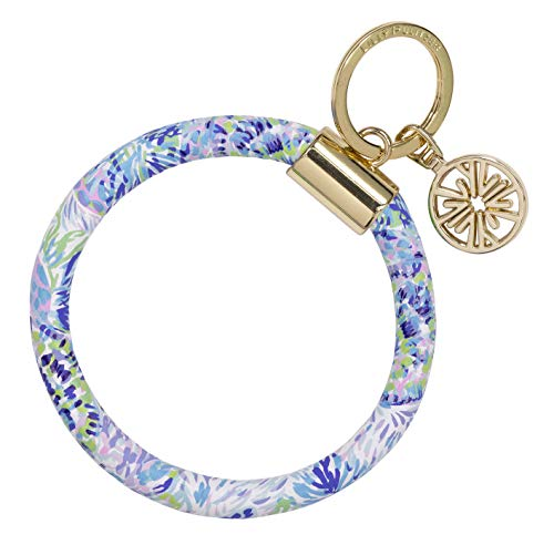 Lilly Pulitzer Purple/Blue/Green Leatherette Round Key Ring Chain, Shell of...