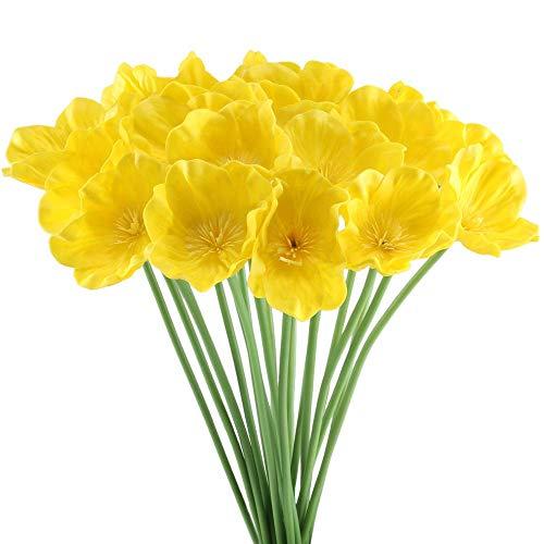 WEFLOWERS Arreglos de Flores de Amapolas Artificiales Bouquet de Boda Falsos Arreglos para el hogar Cocina Sala de Estar Mesa de Comedor Centros de Mesa Decoraciones Amarillo