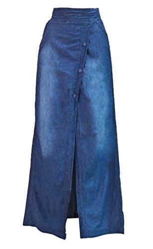 Women's Juniors Long Light Denim Slit Maxi Skirt in Washed Blue Size L