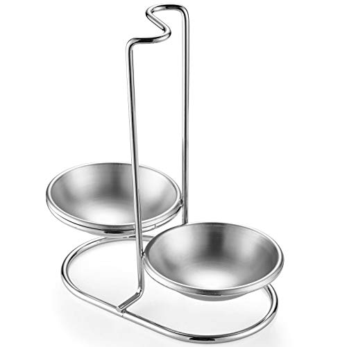 GoldNJade 304 Stainless Steel Double Ladles Holder Vertical Spoon Rest Cooking Utensils Stand 4 inch