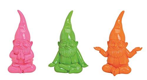 Geschenkestadl 3 er Set Bunte Yoga Zwerge 15 x 10 x 19 cm Figuren in Grün Pink Orange Gartenzwerge