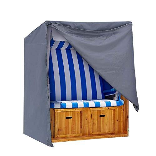 IPOTEK Cover Strandkorb Abdeckung Winterfest und Wasserdicht, Sonnencreme, UV- Beständig Strandkorb Premium Strandkorbhülle,128X105X140/165cm,Grau