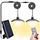 Lámparas Solar Exterior/Interior con Mando a Distancia,Sensor de luz,Beinhome LED Luces Solar 400Lumen con Cable 3M*2,IP65 Resistente al Agua,Panel Solar Ajustable 120°,3 Modos,para Jardín Camping