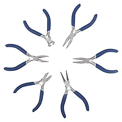 6 Piece Jeweler Pliers Tool - Mini Pliers Set with Round Nose, Chain Nose, Flat Nose Pliers, Wire Cutter, End Cutter for Jewelry Making Beading Wire Wrapping Repair Kit- Also for Electrical, Woodwork