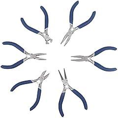 Alicates Set (6 Piezas) - Cortacable Ergonómico, Alicate Punta Plana, Alicate Punta Redonda, Tenaza para Cortar, Alicates de Precision - Kit de Alicates per Bricolaje y Hacer Joyas