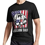 Shichon Dog with Us Flag Glasses Happy Shichon Dad Father Active Tshirt, Sweatshirt, Long Tee, Tank Tops, Hoodie for Men, Women Full Size.