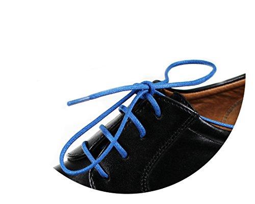 Loco!Laces - lacci per scarpe cerati, colorati, rotondi, per scarpe eleganti e in pelle, lunghezza: 80cm, diametro: 2,5mm, Blu (3x blu), 3er Pack