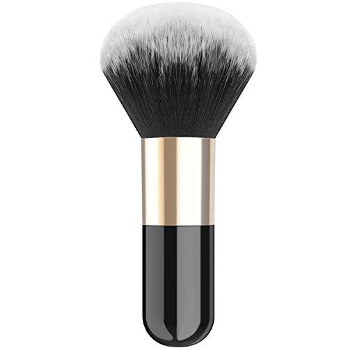 Luxspire Professional Makeup Brush, Single Handle Large Round Head Soft Face Mineral Powder Foundation Blush Brush Cosmetics Make Up Tool, Black & Gold