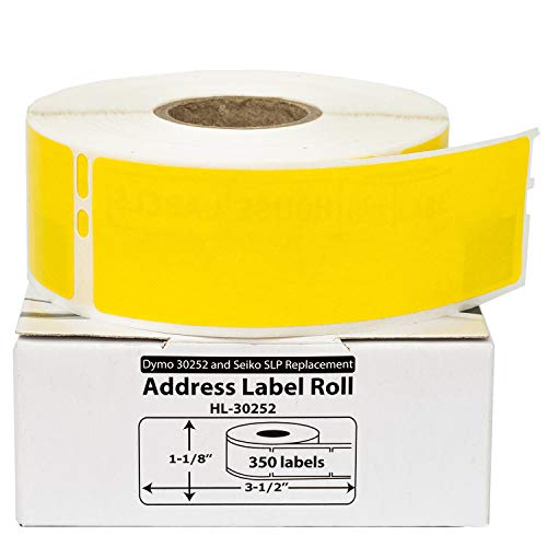 """HOUSELABELS Compatible DYMO 30252 Yellow Address Labels (1-1/8"""" x 3-1/2"""") Compatible with Rollo, DYMO LW Printers, 12 Rolls / 350 Labels per Roll"""